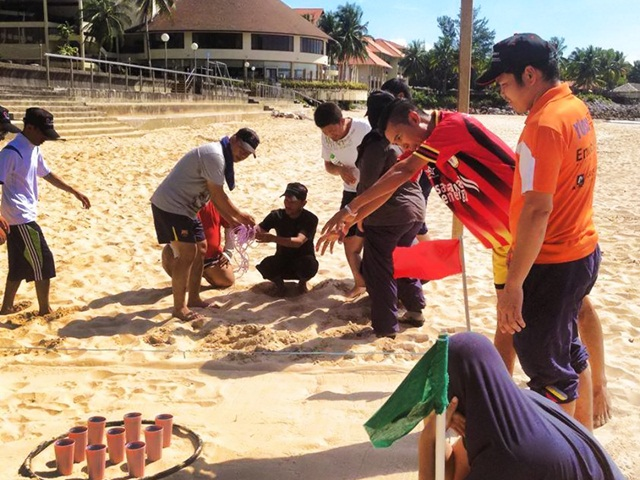 Activities at the beach where team members enjoying themselves