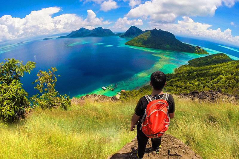Hiking at Bohey Dulang Island